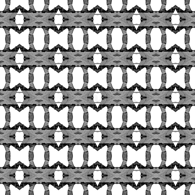 Geometrisches nahtloses Schwarzweiss-Muster Hand d lizenzfreie abbildung