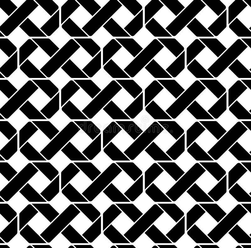 Geometrisches nahtloses Schwarzweiss-Muster, symmetrisches endloses VE lizenzfreie abbildung