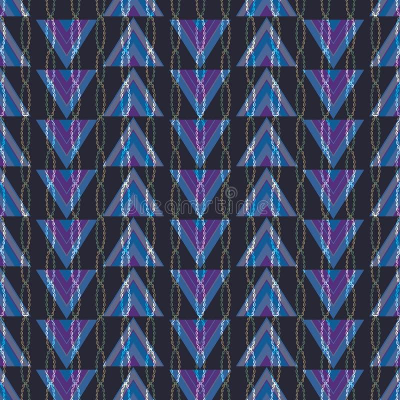 Geometrisches Purpurrotes, blau, Rosa und grüne Illustration mit Dreiecken und vertikalen angeketteten Streifen vektor abbildung