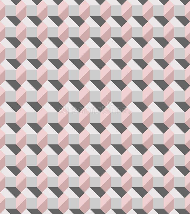 Geometrisches Rosa und graues nahtloses Vektormuster angespornt durch moderne Fliesen lizenzfreie abbildung
