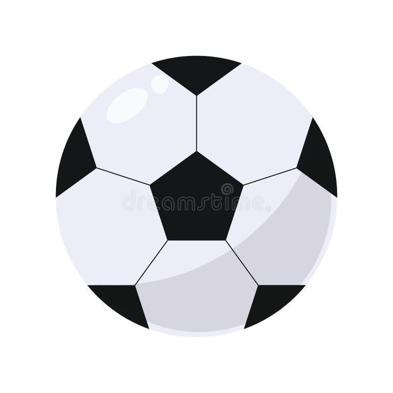 Geometrisches sportliches rundes ledernes Weiß mit volumetrischem einfachem des schwarzen Fußballs mit Höhepunkt und Schatten lok lizenzfreie abbildung