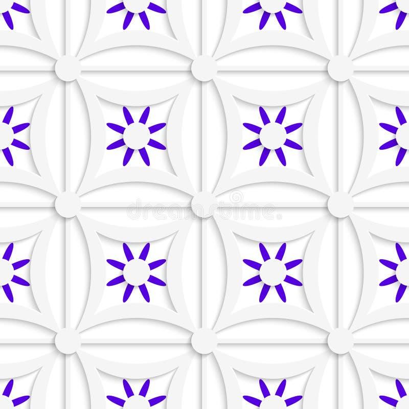 Geometrisches weißes Muster mit überlagerten purpurroten Blumen lizenzfreie abbildung