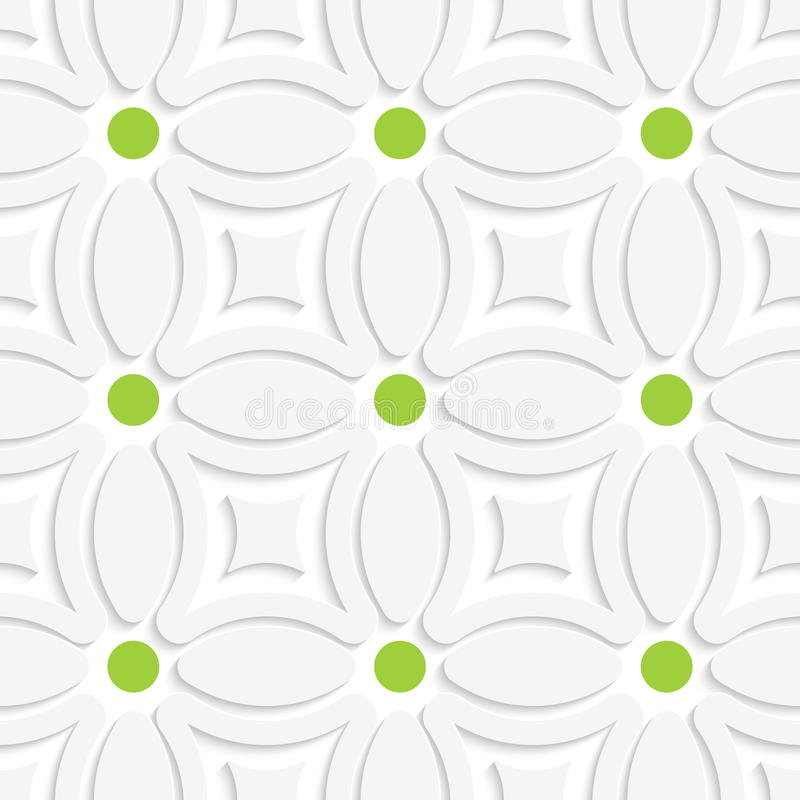 Geometrisches weißes Muster mit grünen Punkten lizenzfreie abbildung
