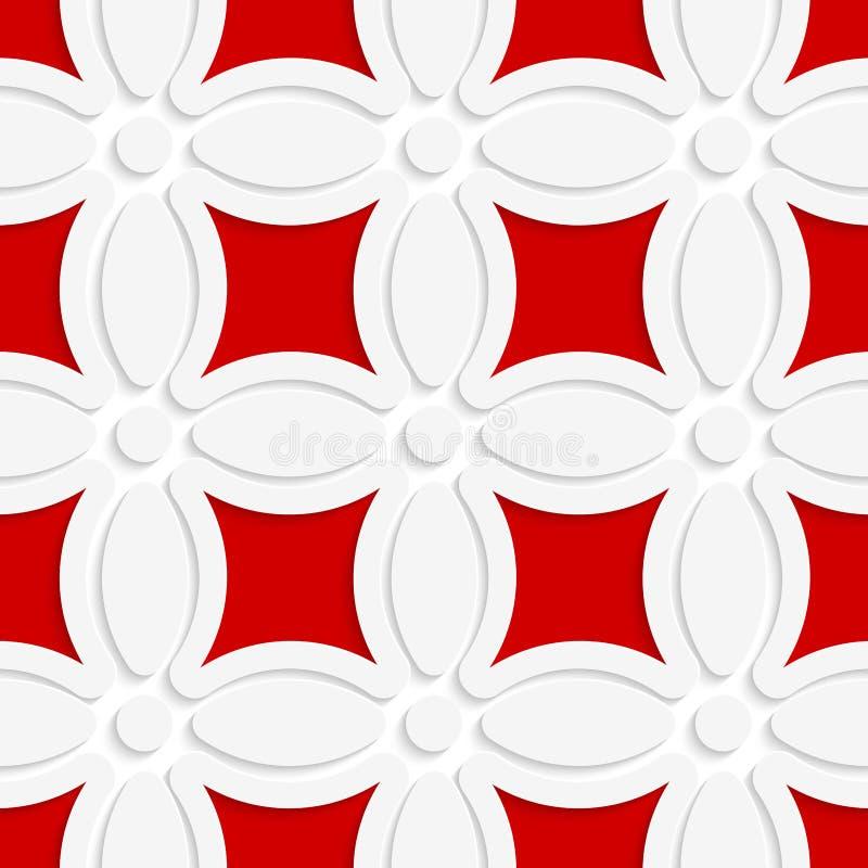 Geometrisches weißes Muster mit Rot vektor abbildung