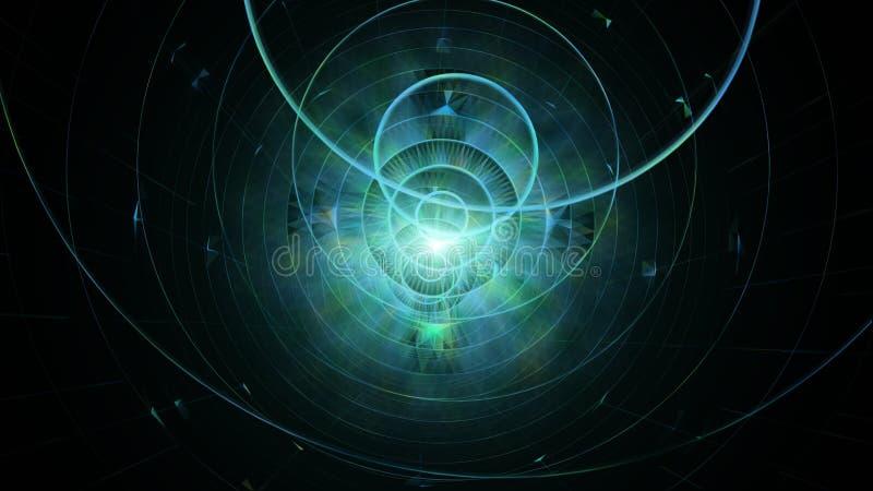 geometrisk abstrakt bakgrund Begrepp för science fiction, futuristiskt och yttre rymd stock illustrationer