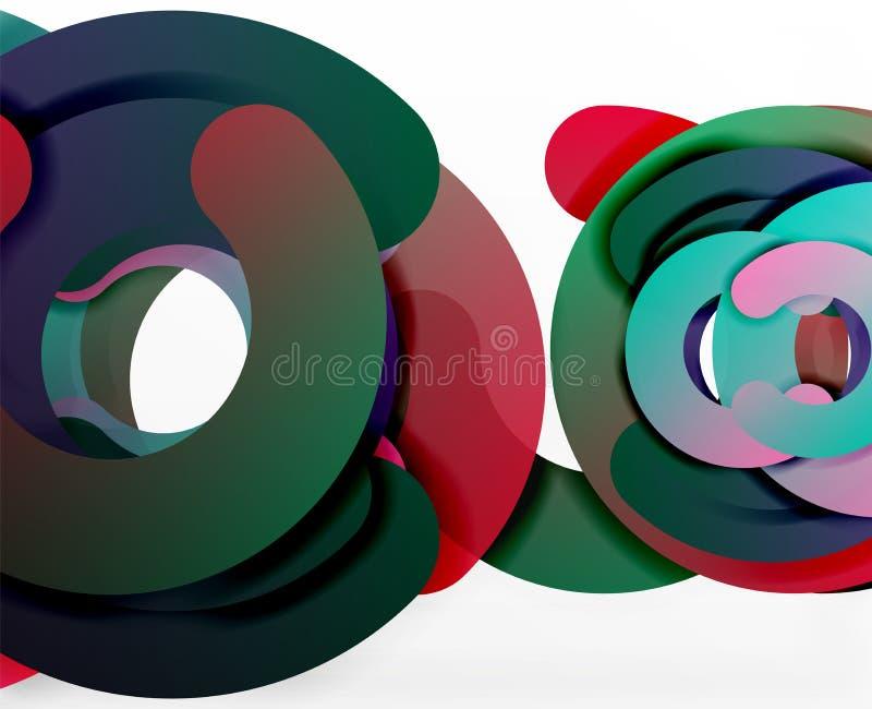 Geometrisk abstrakt bakgrund för cirkel, färgrik affär eller teknologidesign för rengöringsduk vektor illustrationer
