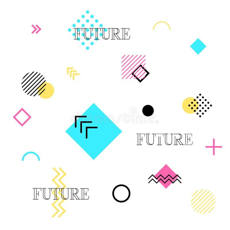 geometrisk abstrakt bakgrund Framtida modeller planlägger Moderiktig sömlös översikt för kort, affischer, räkningar vektor illustrationer