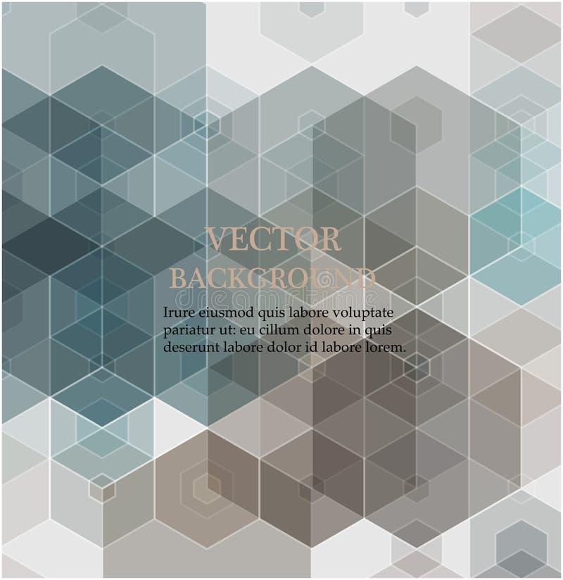 geometrisk abstrakt bakgrund Gröna och gråa sexhörningar Modelldesign royaltyfri illustrationer