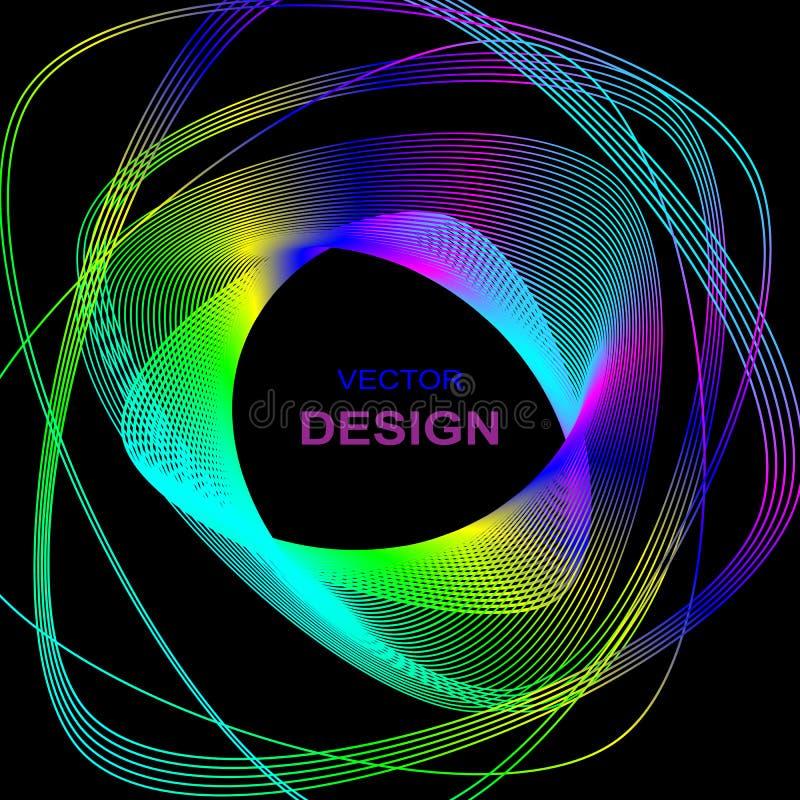 geometrisk abstrakt bakgrund Kulöra linjer för neon av triangeln på en mörk bakgrund vektor illustrationer