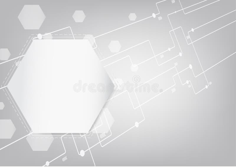 Geometrisk abstrakt bakgrund med det förbindelselinje-, prick- och pilsymbolet, begrepp för teknologi, vetenskap, medicinsk bakgr vektor illustrationer