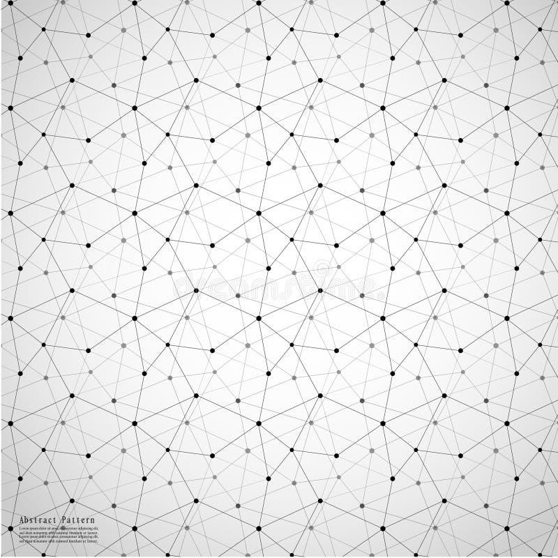 Geometrisk abstrakt bakgrund med förbindelselinjen och Dots Patterns stock illustrationer