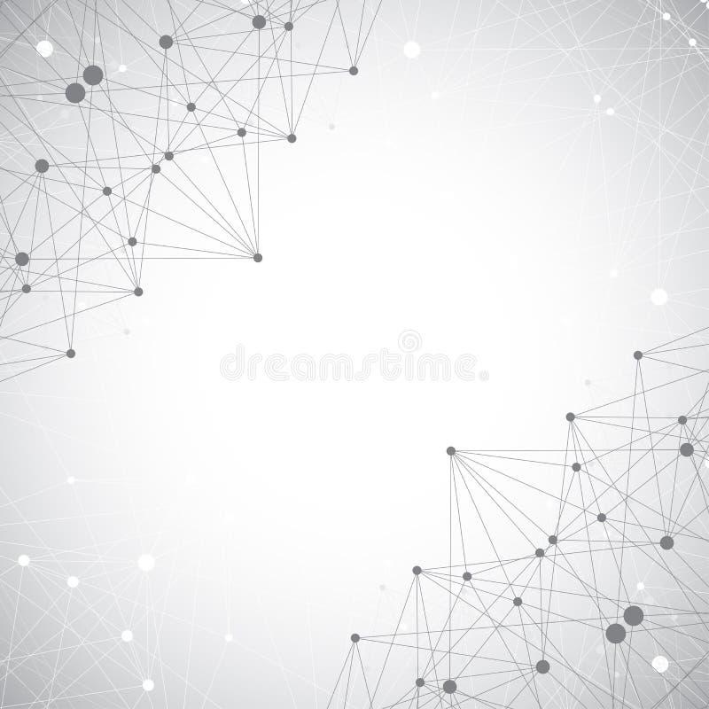 Geometrisk abstrakt bakgrund med förbindelselinjen och prickar, illustration royaltyfria foton