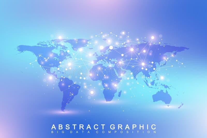 Geometrisk abstrakt bakgrund med förbindelselinjen och prickar Nätverks- och anslutningsbakgrund för din presentation royaltyfri illustrationer