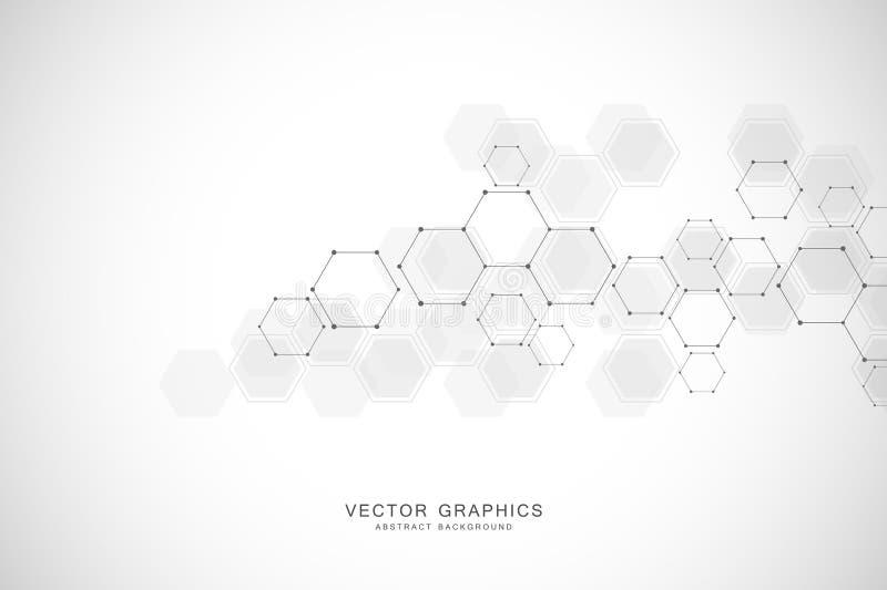 Geometrisk abstrakt bakgrund med sexhörningar Strukturmolekyl och kommunikation Vetenskap, teknologi och läkarundersökning stock illustrationer