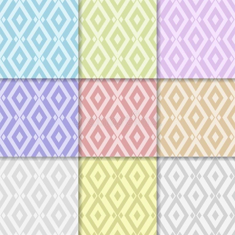 geometrisk abstrakt bakgrund Samling av den kulöra sömlösa modellen vektor illustrationer