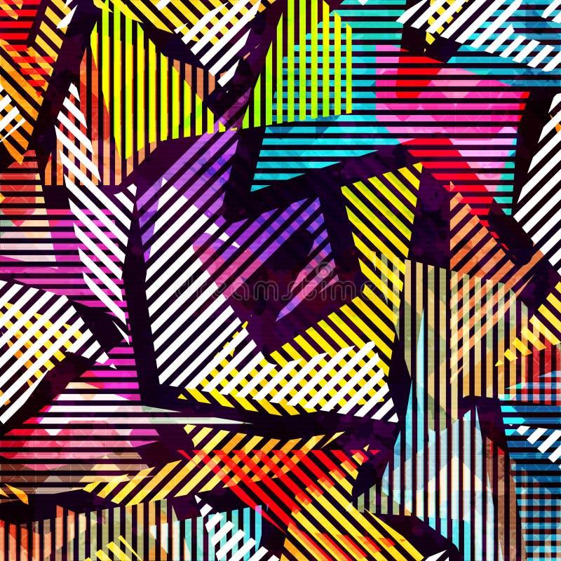 Geometrisk abstrakt färgmodell i grafittistil kvalitets- vektorillustration för din design royaltyfri illustrationer