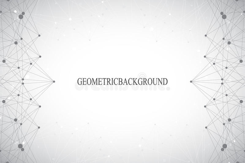 Geometrisk abstrakt grå bakgrund med förbindelselinjer och prickar Medicin vetenskap, teknologibakgrund för din design royaltyfri fotografi