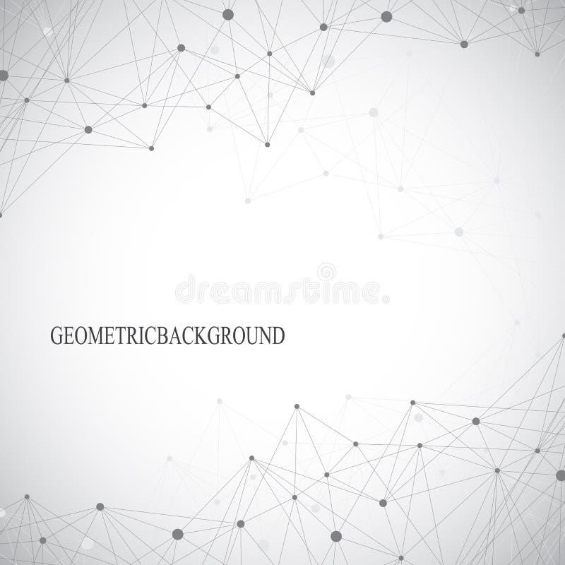 Geometrisk abstrakt grå bakgrund med förbindelselinjer och prickar Medicin vetenskap, teknologibakgrund för din design arkivbild