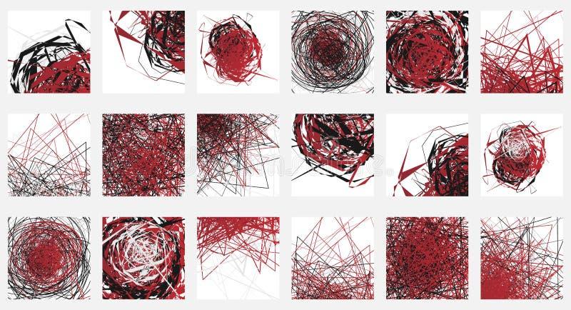 Geometrisk abstrakt illustrationuppsättning olik konstnärlig compo 18 royaltyfri illustrationer