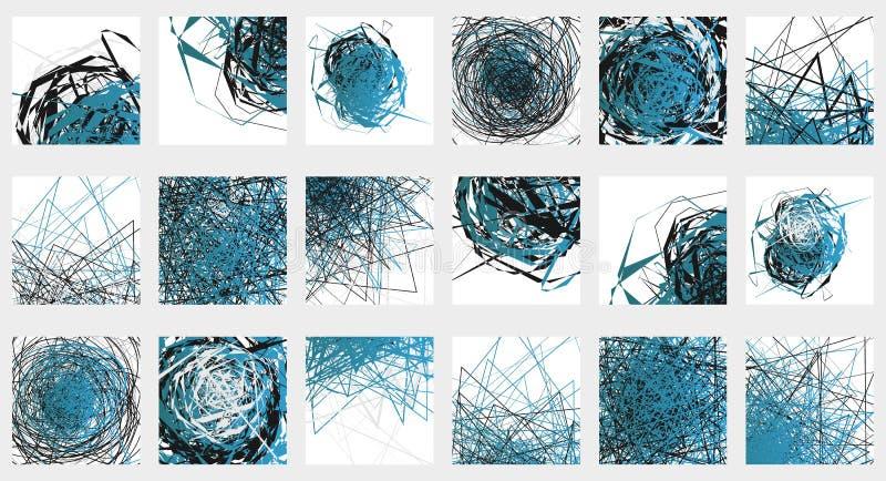 Geometrisk abstrakt illustrationuppsättning 18 olika konstnärligt stock illustrationer