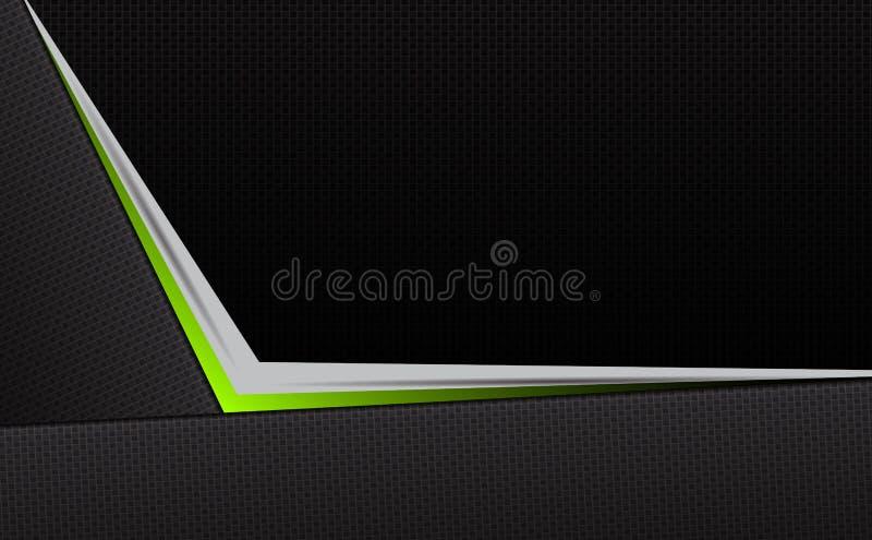 Geometrisk abstrakt mörk textursammansättning med en grön skuggapil royaltyfri illustrationer