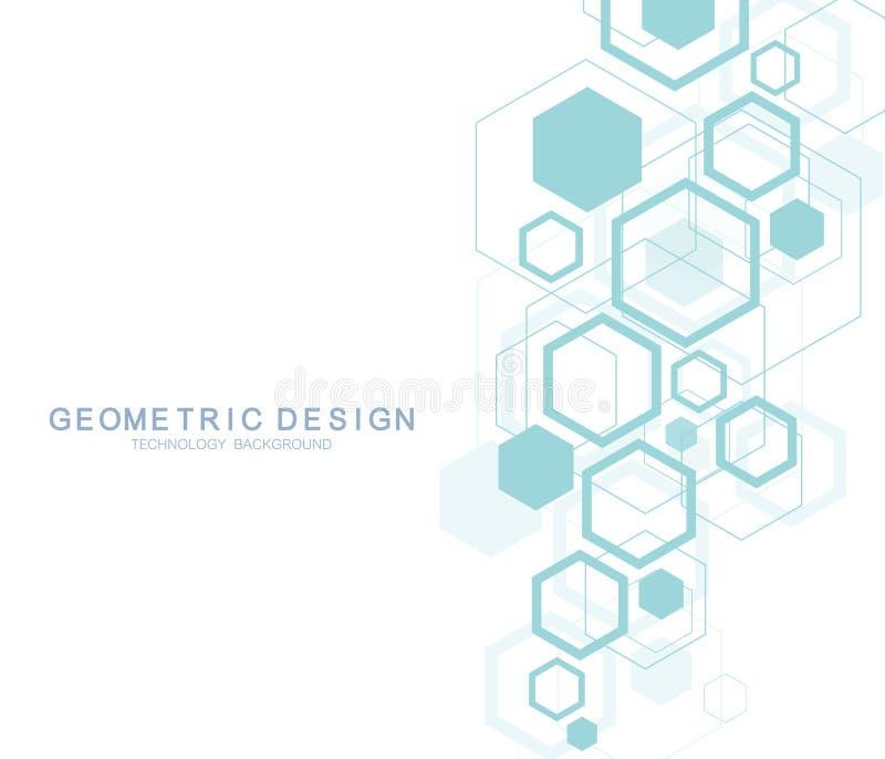 Geometrisk abstrakt molekylbakgrund för medicin, vetenskap, teknologi, kemi Vetenskapligt DNAmolekylbegrepp vektor illustrationer