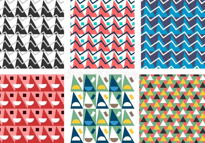 Geometrisk abstrakt sömlös modelluppsättning Enkelt triangelmotiv vektor illustrationer