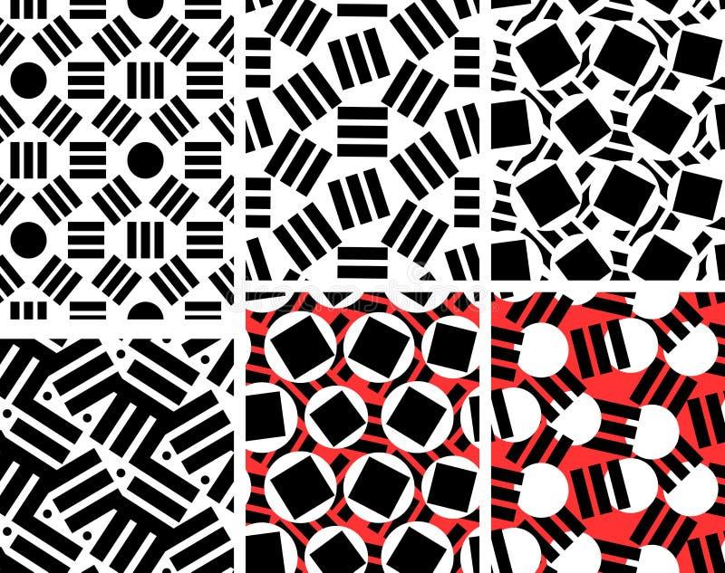 Geometrisk abstrakt sömlös modelluppsättning Linjär motivbakgrund royaltyfri illustrationer