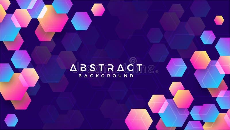 Geometrisk abstrakt sexhörningsbakgrund med blått, purpurfärgat, rosa och orange vektor för bakgrund eps10 royaltyfri illustrationer