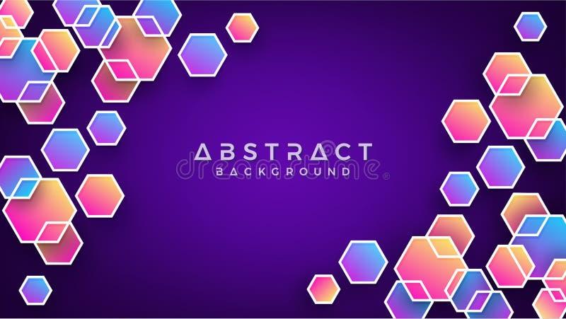 Geometrisk abstrakt sexhörningsbakgrund med blått, purpurfärgat, rosa och orange vektor för bakgrund eps10 stock illustrationer