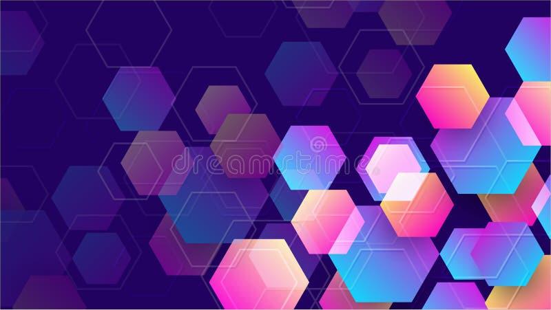 Geometrisk abstrakt sexhörningsbakgrund med blått, purpurfärgat, rosa och orange vektor för bakgrund eps10 vektor illustrationer