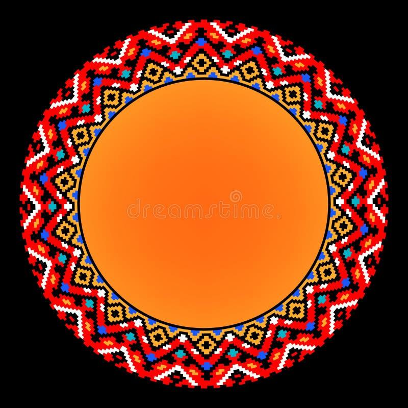 Geometrisk aztec cirkelprydnad för färgrik etnisk sol, vektorram stock illustrationer