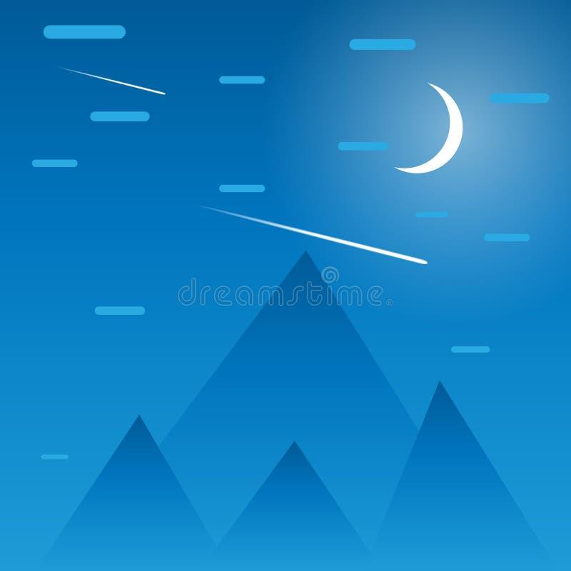 Geometrisk bakgrund av berg och himmel stock illustrationer