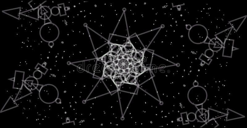 geometrisk bakgrund för abstrakt abstrakt gråton Geometriska former planlägger med svart bakgrund royaltyfri illustrationer