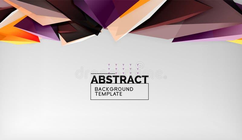 Geometrisk bakgrund för abstrakta färgtrianglar Mosaisk triangulär låg poly stil stock illustrationer