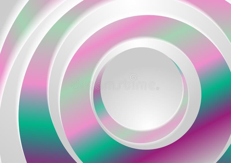 Geometrisk bakgrund för Holographic abstrakta cirkelcirklar royaltyfri illustrationer