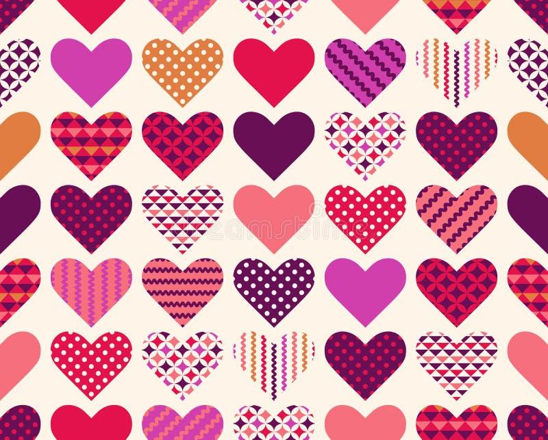 Geometrisk bakgrund för sömlös hjärta vektor illustrationer