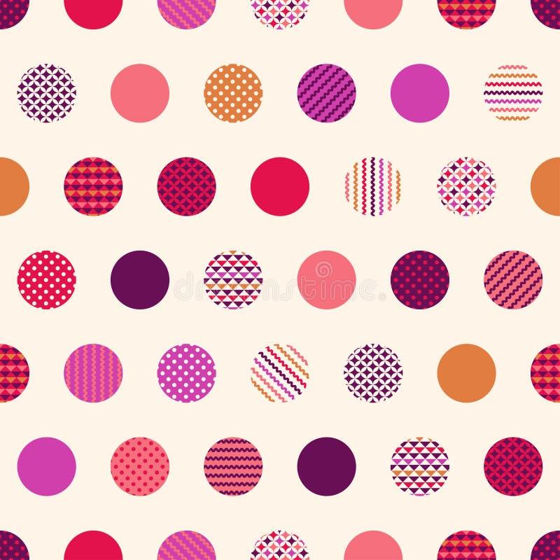 Geometrisk bakgrund för sömlösa prickar vektor illustrationer
