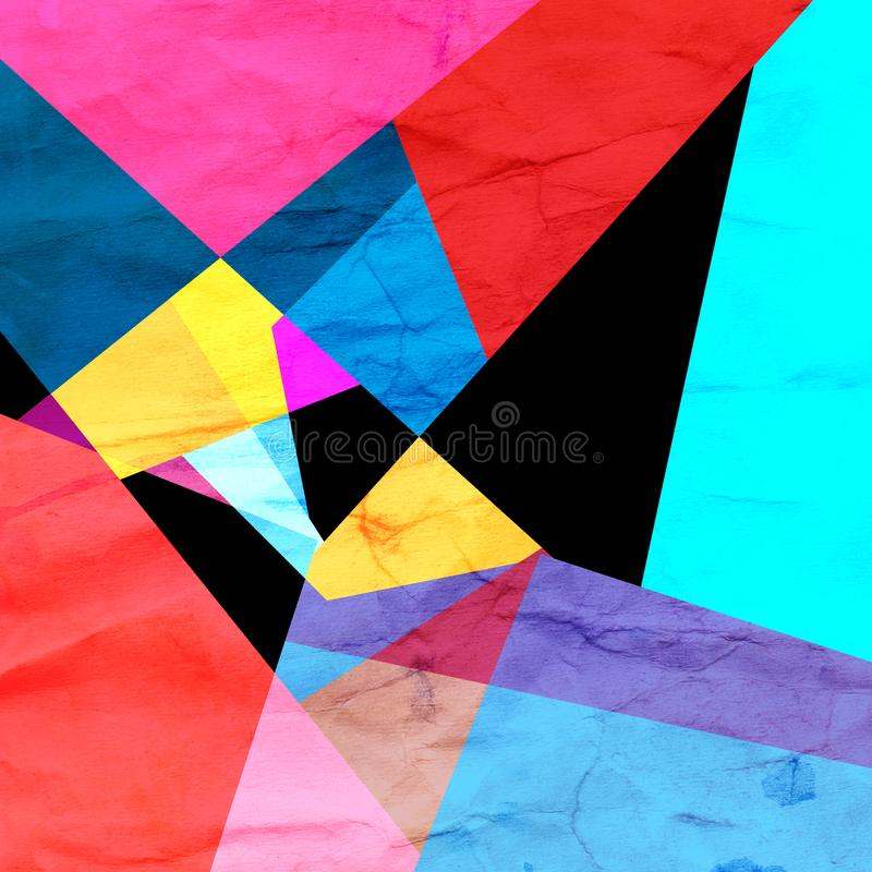 Geometrisk bakgrund för vattenfärgfärgabstrakt begrepp stock illustrationer