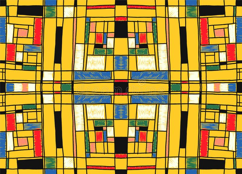 Geometrisk bakgrund i Mondrian rasterstil Pop Art Pattern Sömlös prydnad med abstrakta fyrkanter stock illustrationer