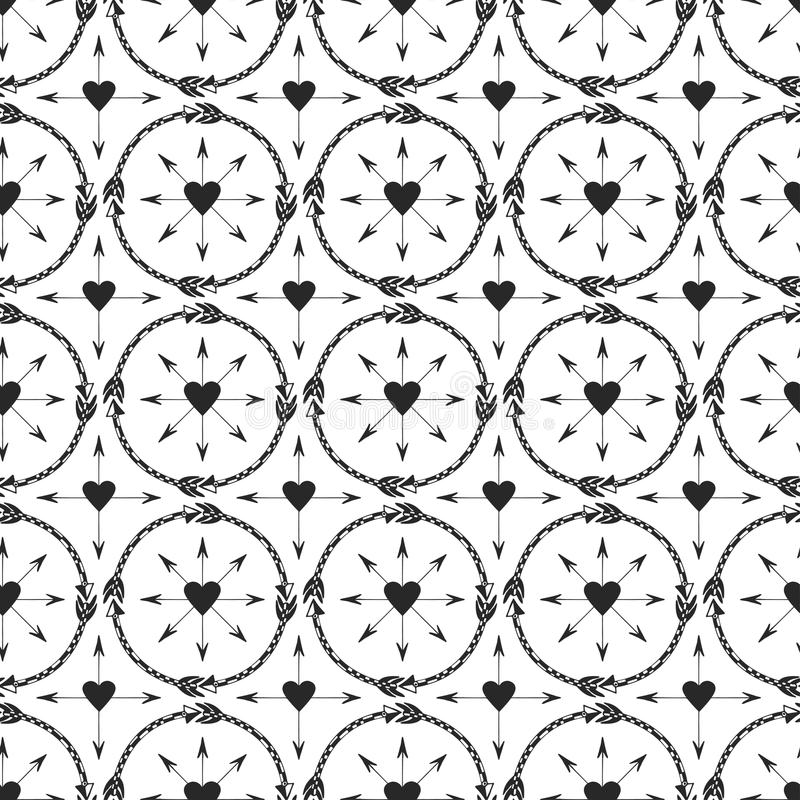 Geometrisk bakgrund med pilprydnaden Tryckdesign i etnisk stil Sömlös vektormodell för stam- pilar stock illustrationer