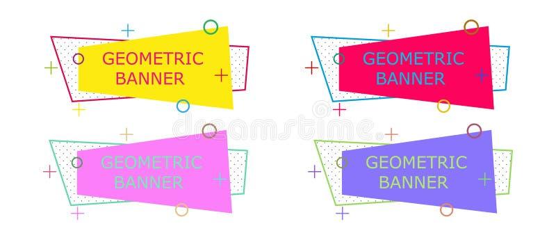 Geometrisk banerbakgrundsdesign Färgrik vektor för abstrakt illustration Garnering för modern form för tapetmall grpahic minut royaltyfri illustrationer