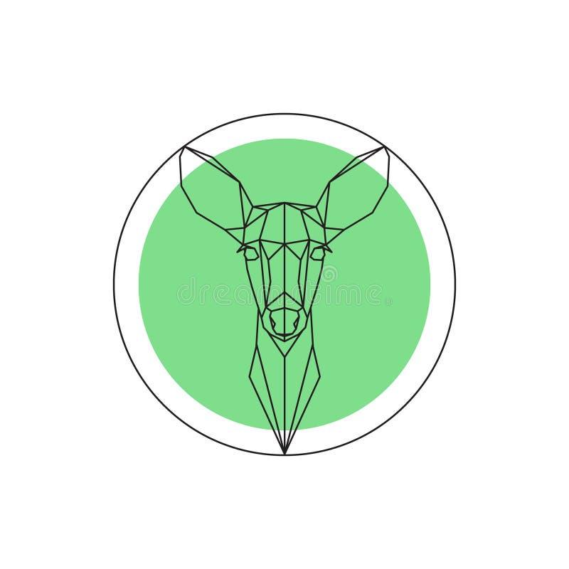 Geometrisk bild av ett hjorthuvud royaltyfri illustrationer