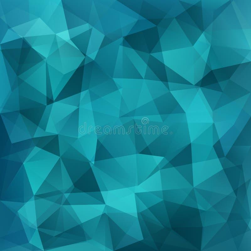 Geometrisk blå bakgrund för abstrakt poligon som består av trianglar vektor illustrationer