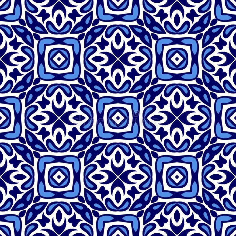 Geometrisk blå och vit vektordesign för keramisk tegelplatta vektor illustrationer