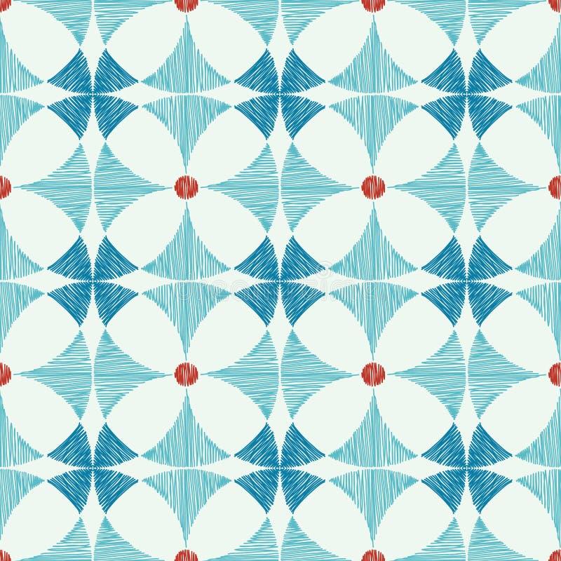 Geometrisk blå röd sömlös modell för ikat royaltyfri illustrationer