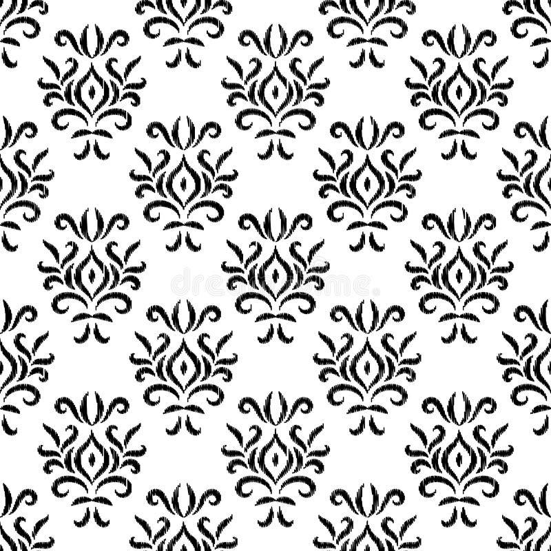 Geometrisk blom- sömlös modell för svartvit damast ikatprydnad, vektor stock illustrationer