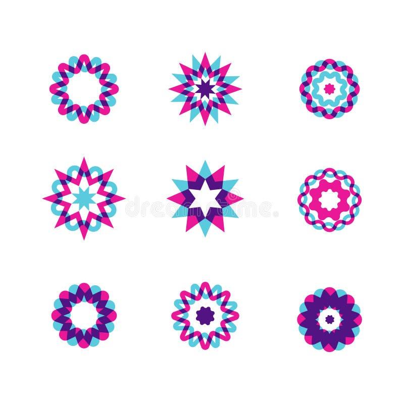 Geometrisk cirkeluppsättning Abstrakt affärstecken Planlägg beståndsdelar för ett tecken, ett symbol, en logo, en rengöringsduk,  royaltyfri illustrationer