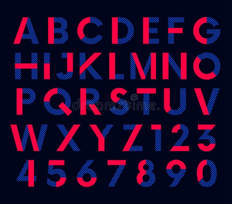Geometrisk dekorativ kulör stilsort, vektoralfabet vektor illustrationer