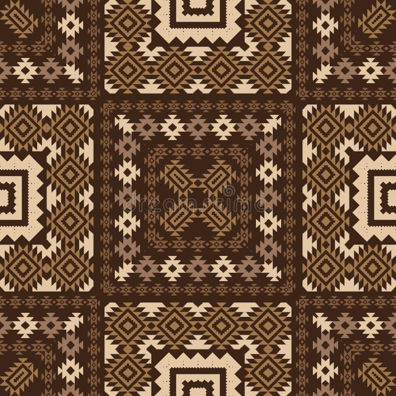 Geometrisk dekorativ modell i brunt vektor illustrationer